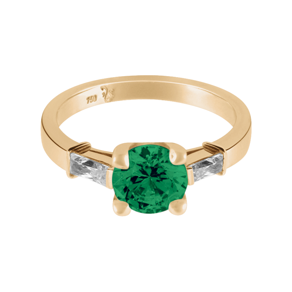 Paris Emerald green in Rose Gold