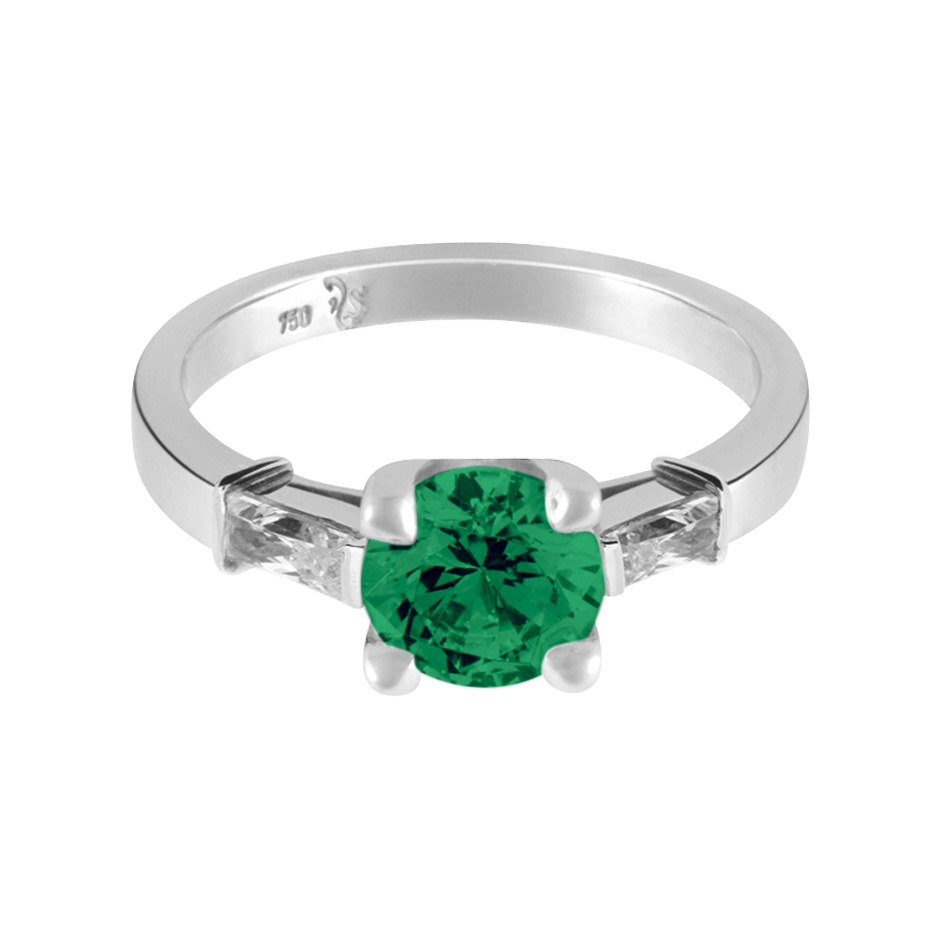 Paris Emerald green in White Gold