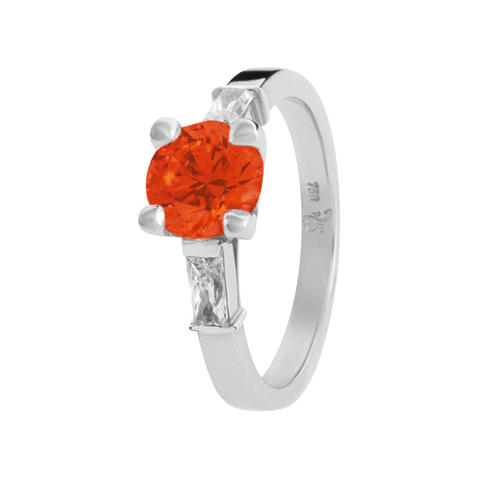 Paris Fire Opal orange in Platinum