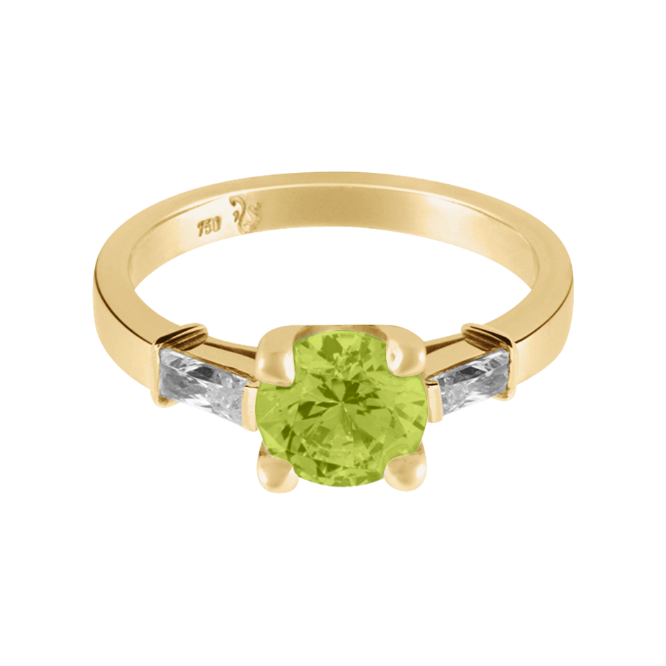 Paris Peridot green in Yellow Gold