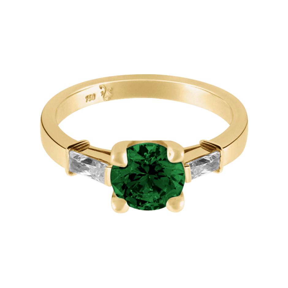 Paris Tourmaline green in Yellow Gold