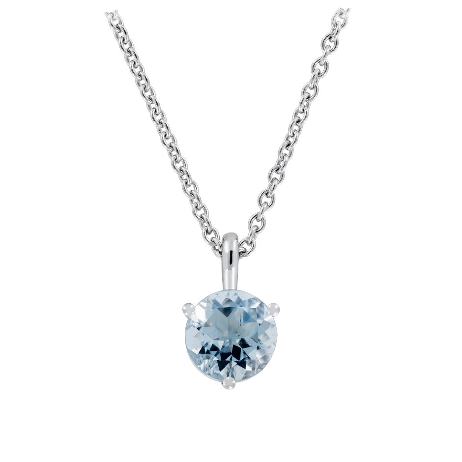 Pendant 3 Prongs Aquamarine blue in Platinum