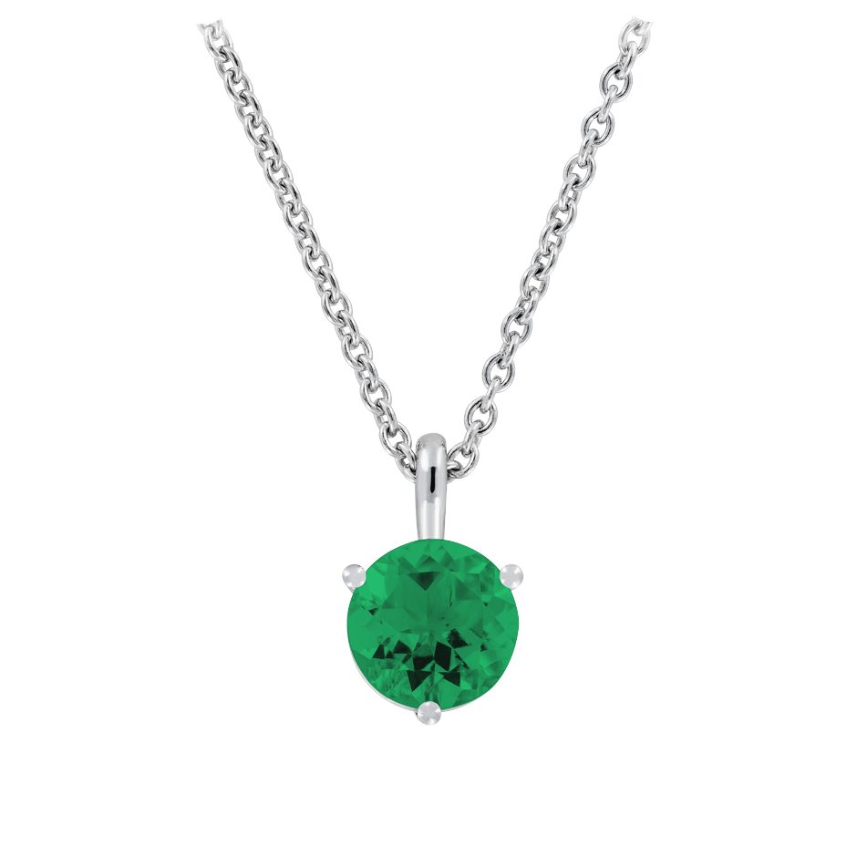 Pendant 3 Prongs Emerald green in White Gold