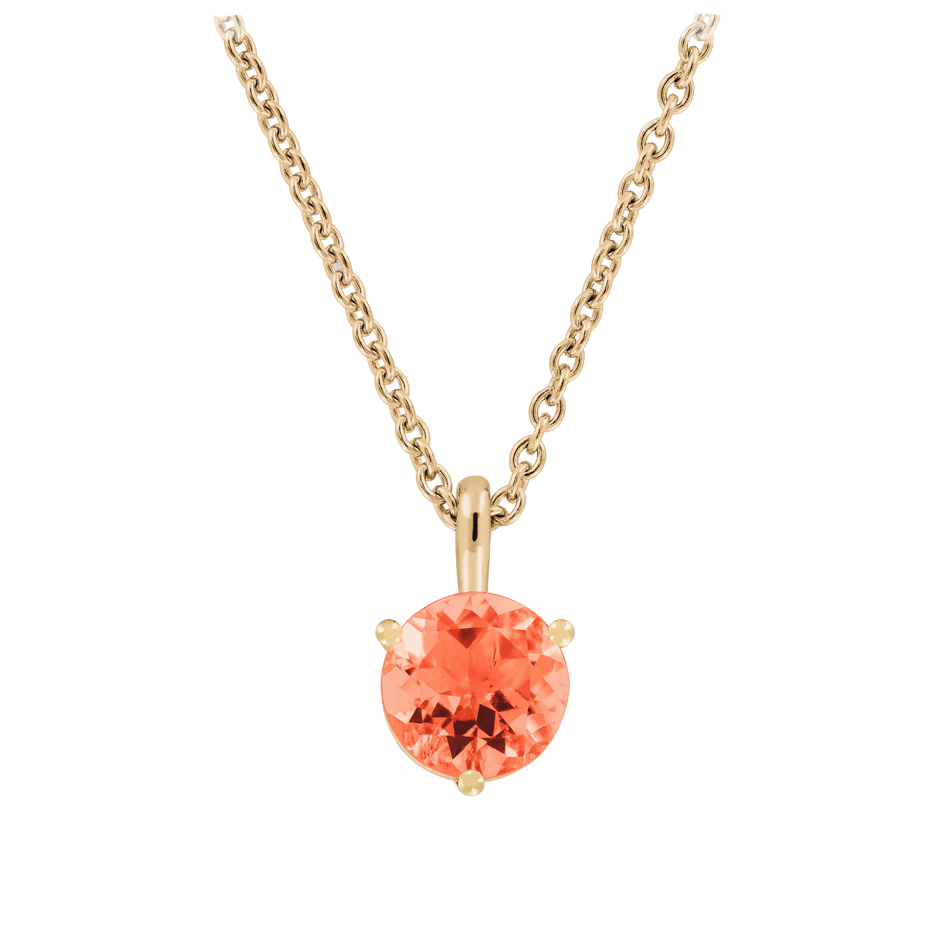 Pendant 3 Prongs Fire Opal Orange in Rose Gold