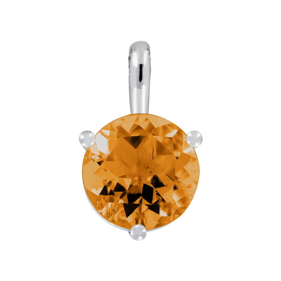 Pendant 3 Prongs Madeira Citrine orange in White Gold