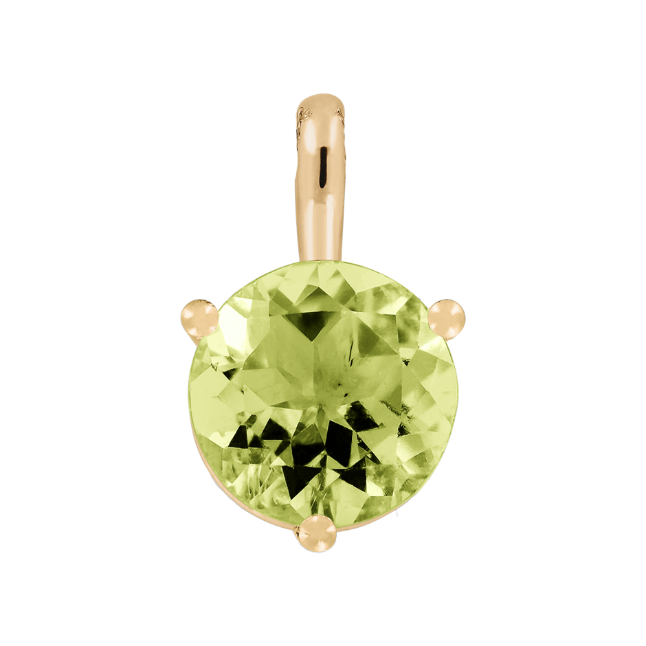 Pendant 3 Prongs Peridot green in Rose Gold