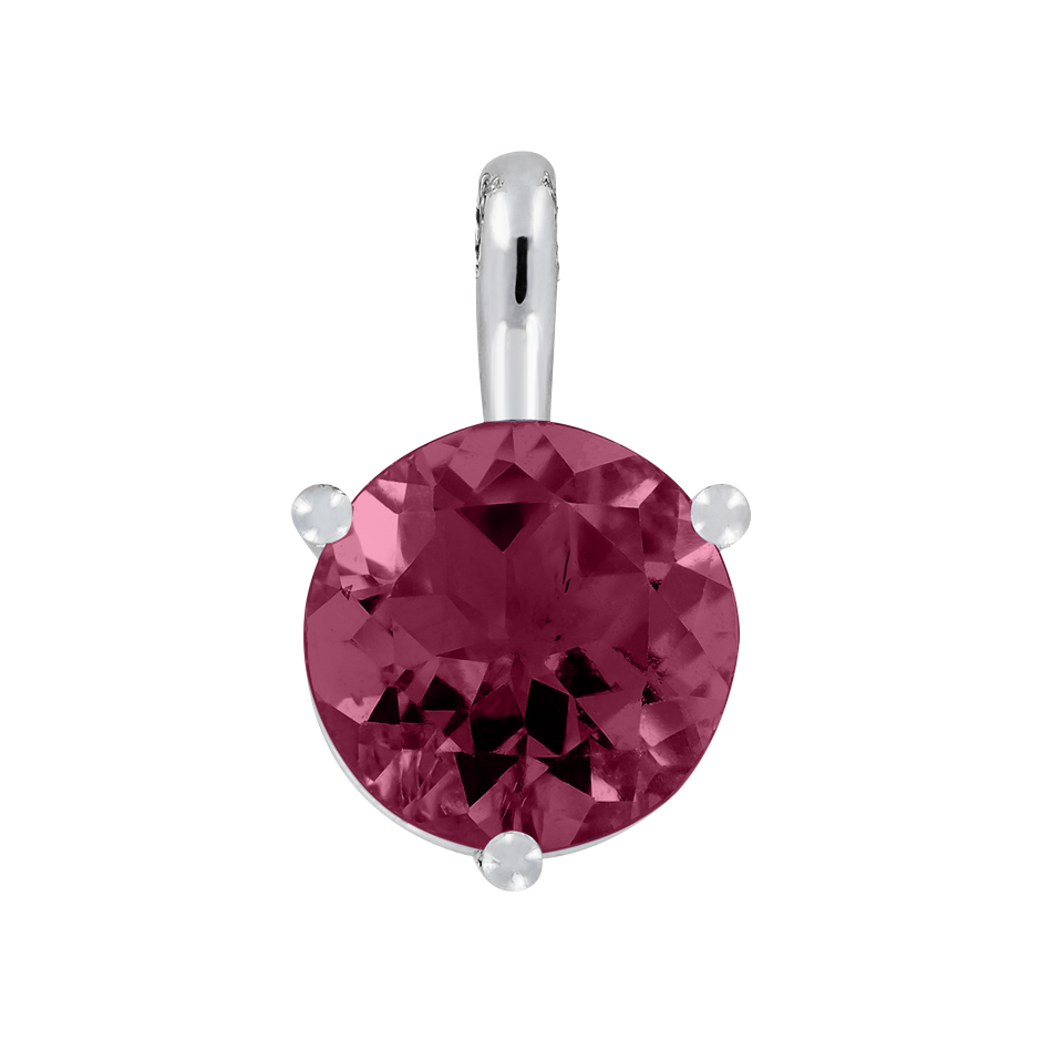 Pendant 3 Prongs Rhodolite red in Platinum