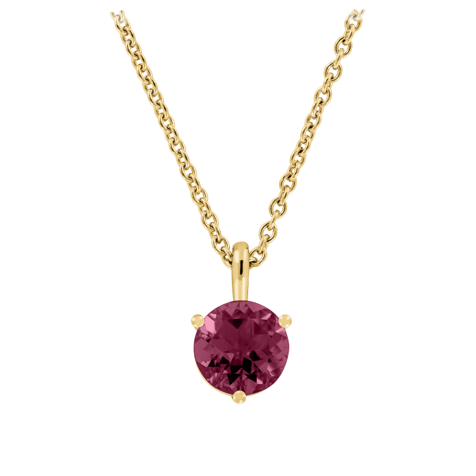 Pendant 3 Prongs Rhodolite red in Yellow Gold
