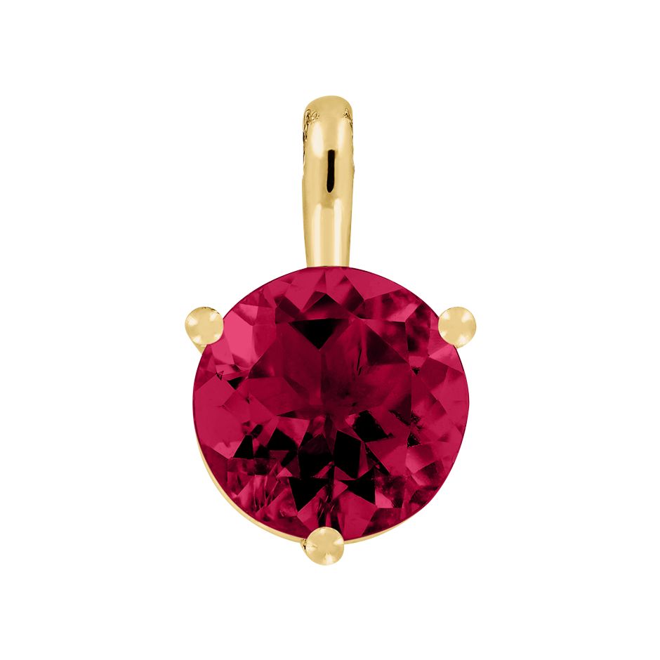 Pendant 3 Prongs Ruby red in Yellow Gold