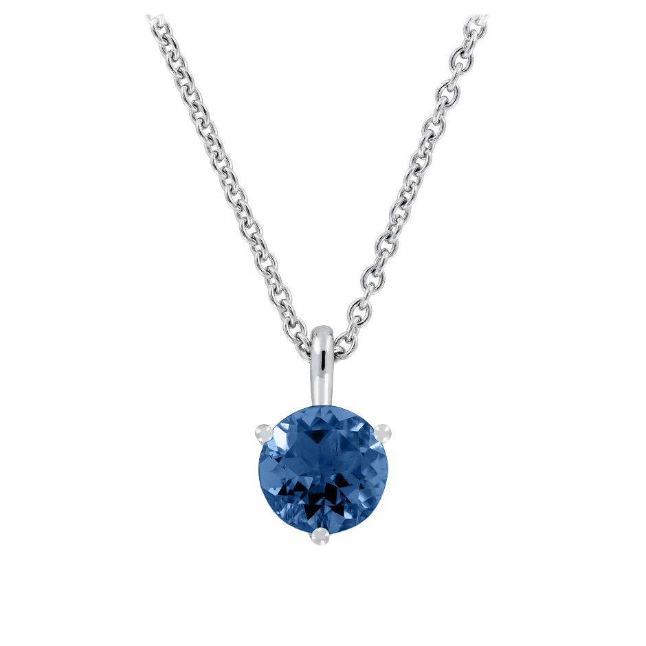 Pendant 3 Prongs Sapphire blue in White Gold