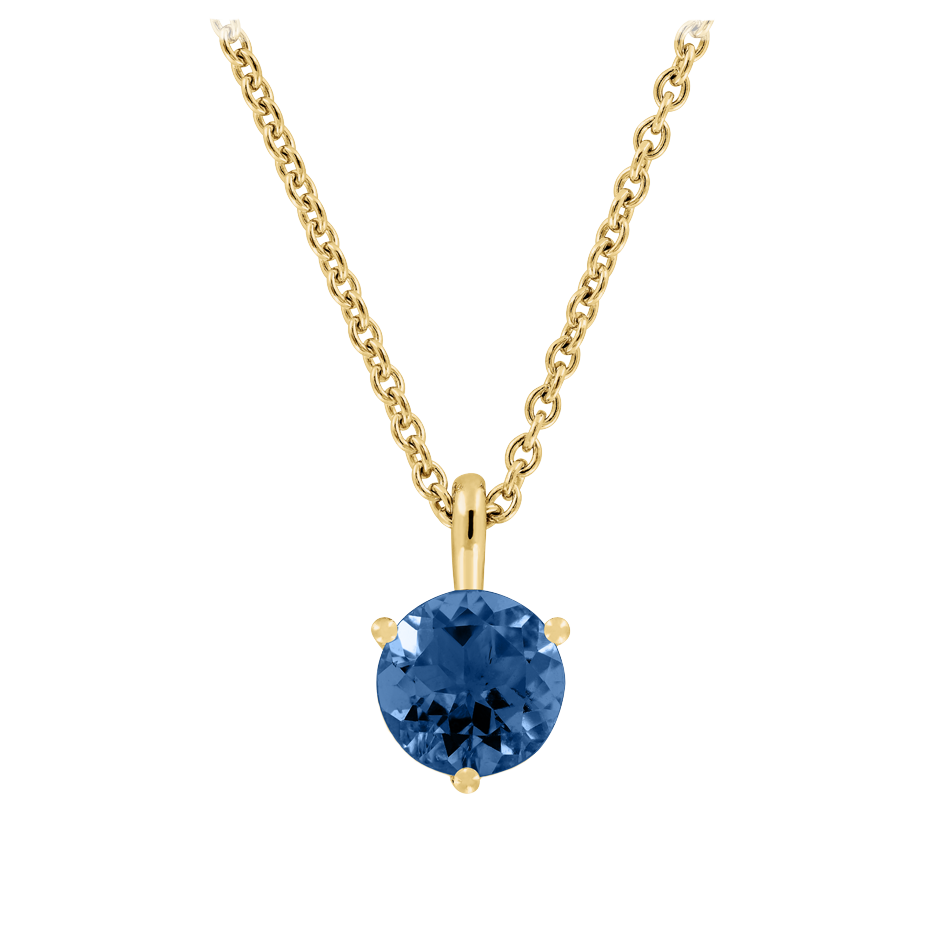 Pendant 3 Prongs Sapphire blue in Yellow Gold