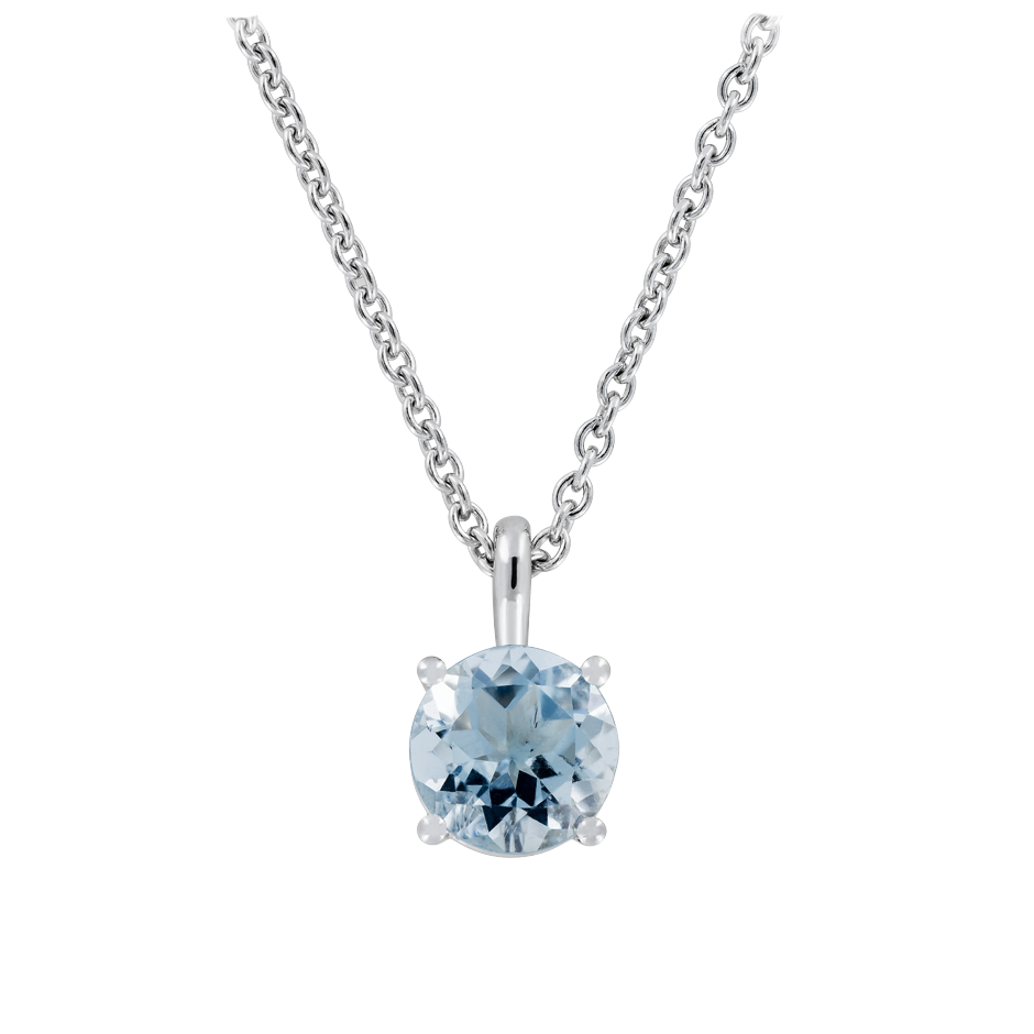 Pendant 4 Prongs Aquamarine blue in White Gold
