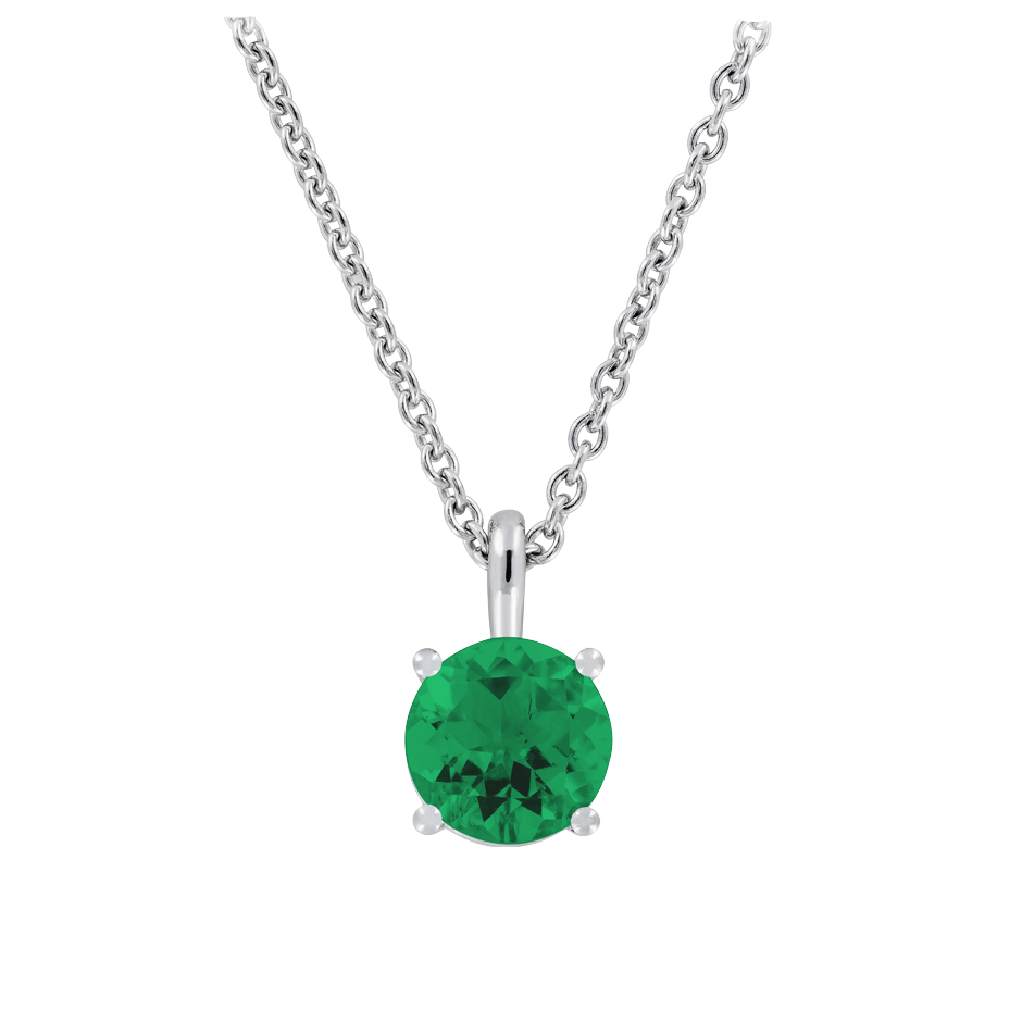 Pendant 4 Prongs Emerald green in White Gold
