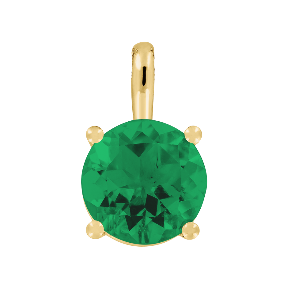 Pendant 4 Prongs Emerald green in Yellow Gold