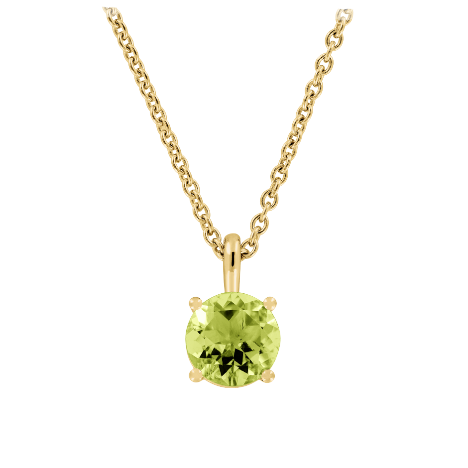 Pendant 4 Prongs Peridot green in Yellow Gold