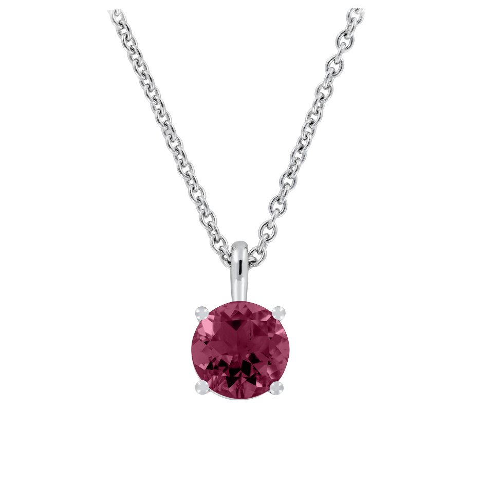Pendant 4 Prongs Rhodolite red in White Gold
