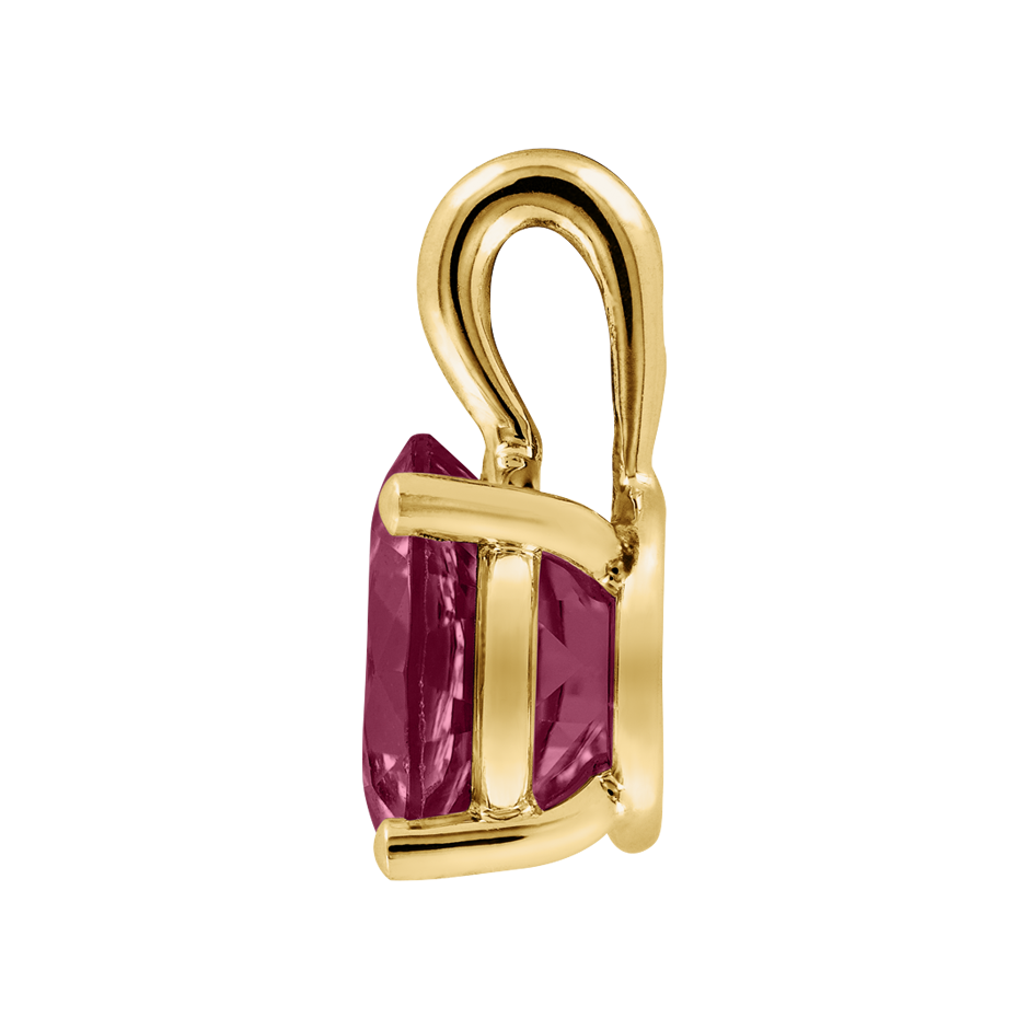 Pendant 4 Prongs Rhodolite red in Yellow Gold