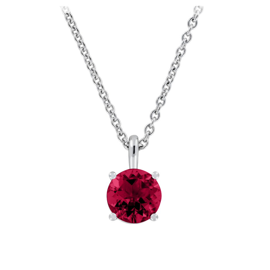 Pendant 4 Prongs Ruby red in Platinum