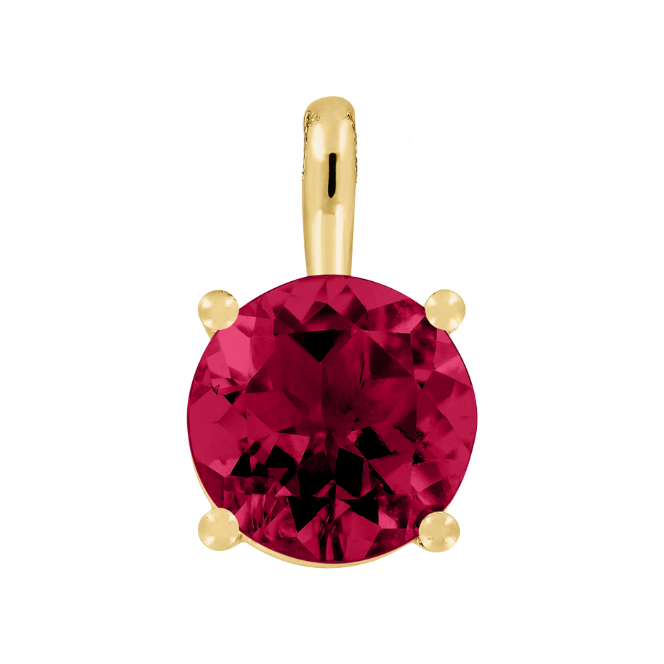 Pendant 4 Prongs Ruby red in Yellow Gold