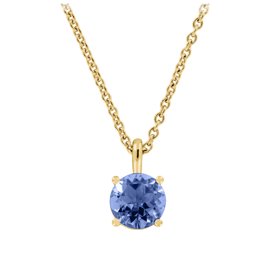 Pendant 4 Prongs Tanzanite blue in Yellow Gold