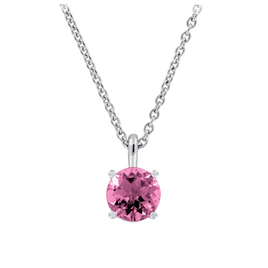 Pendant 4 Prongs Tourmaline pink in White Gold