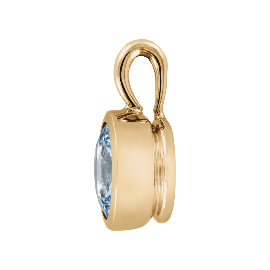 Pendant Bezel Aquamarine blue in Rose Gold