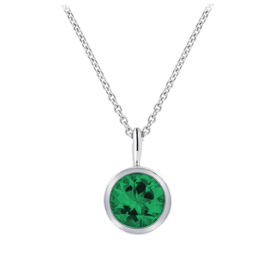 Pendant Bezel Emerald green in White Gold
