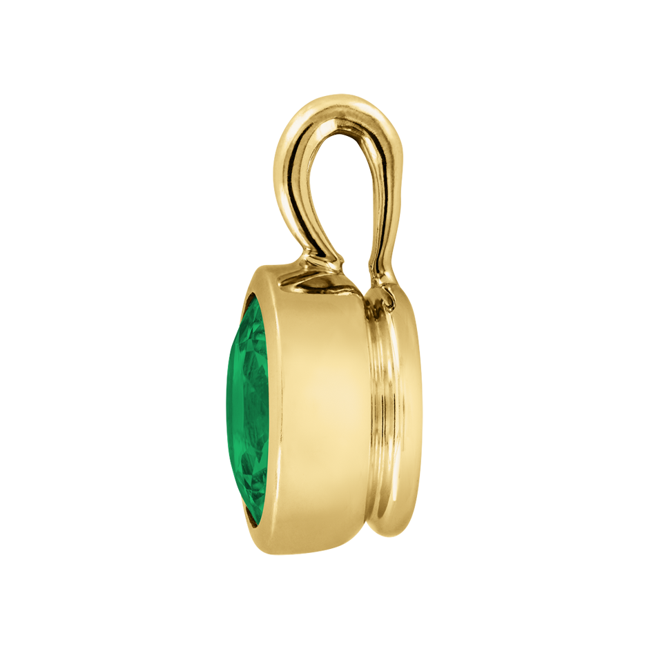 Pendant Bezel Emerald green in Yellow Gold