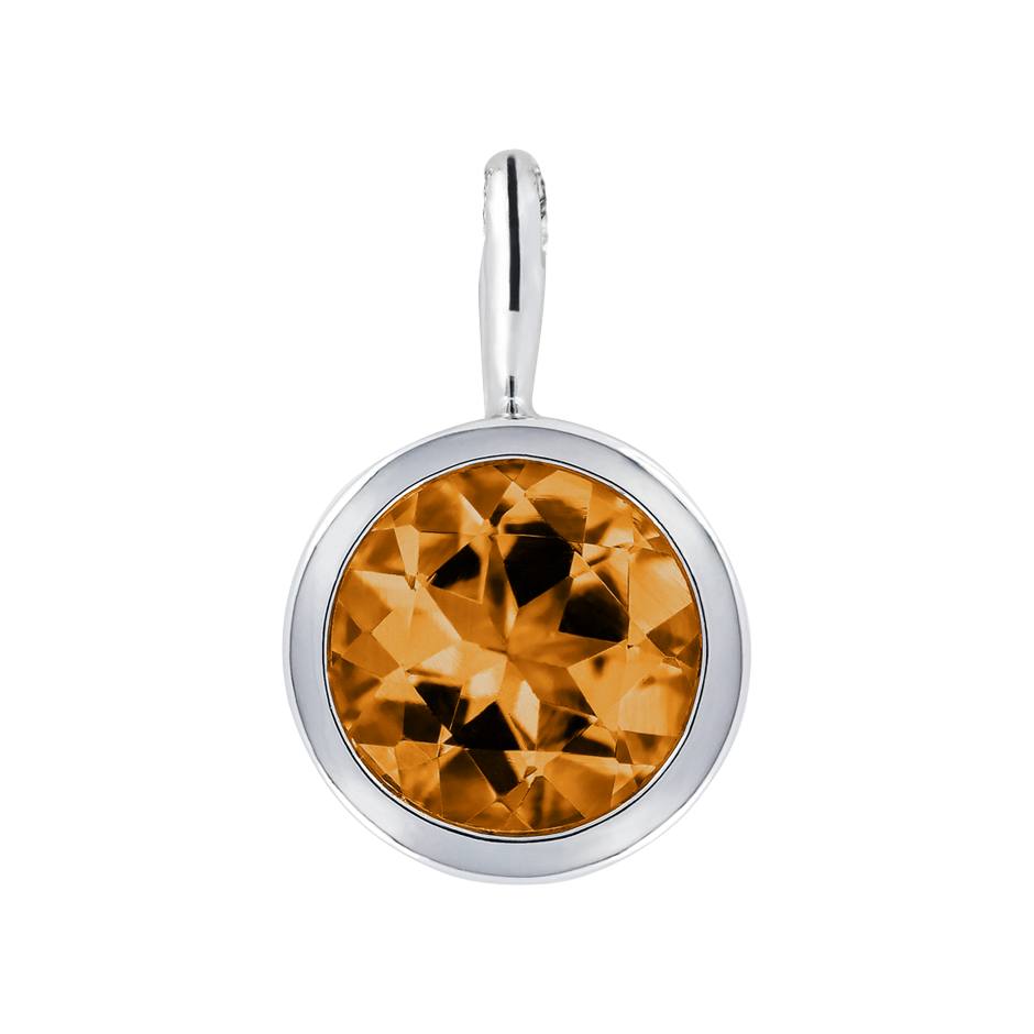 Pendant Bezel Madeira Citrine orange in Platinum