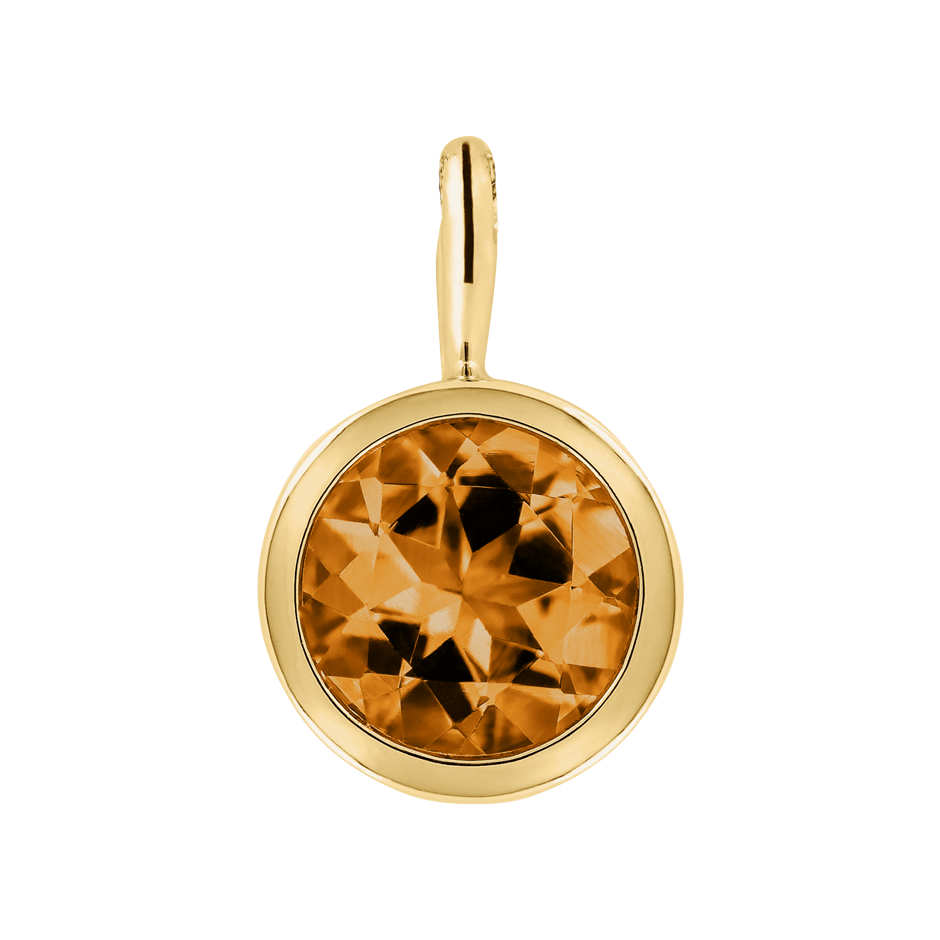 Pendant Bezel Madeira Citrine orange in Yellow Gold