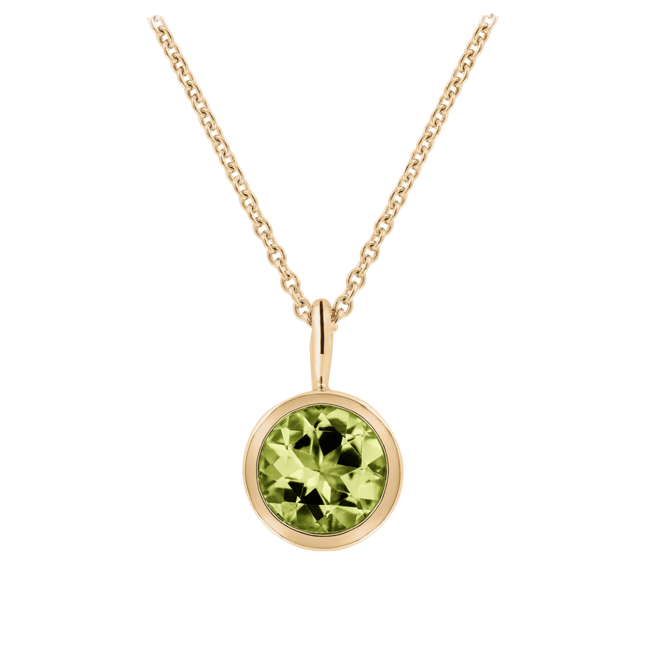 Pendant Bezel Peridot green in Rose Gold