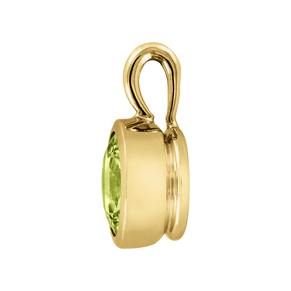 Pendant Bezel Peridot green in Yellow Gold