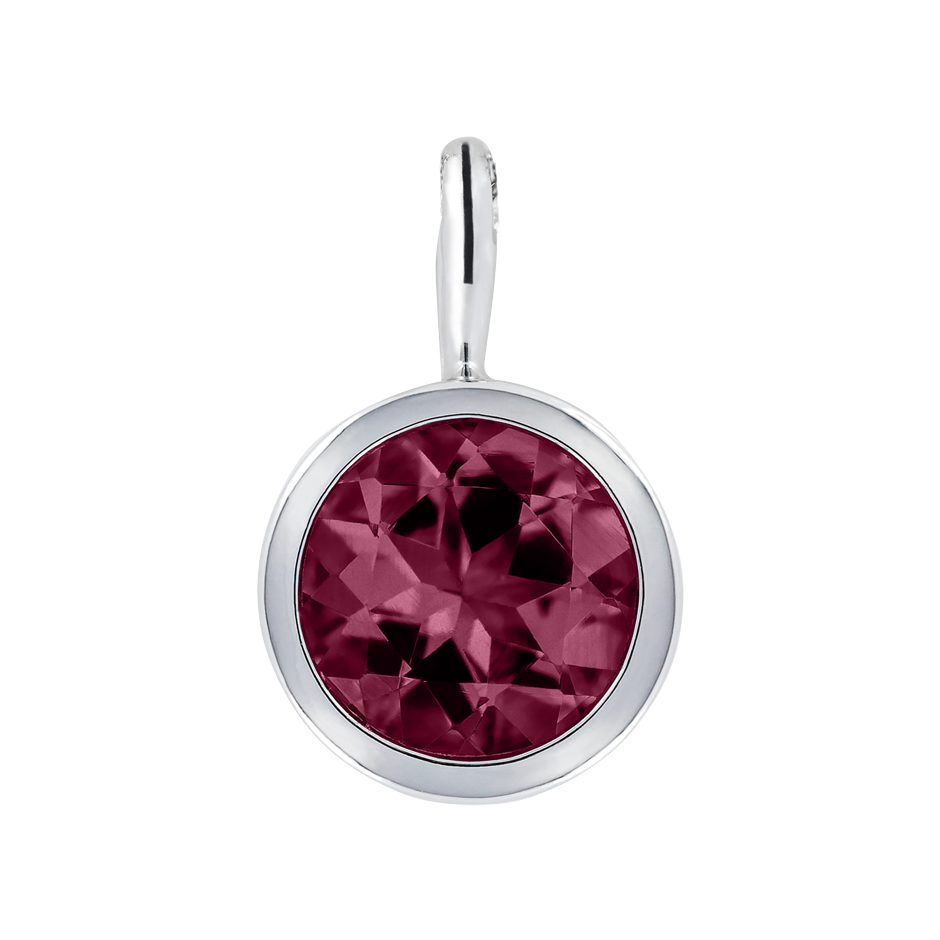 Pendant Bezel Rhodolite red in Platinum