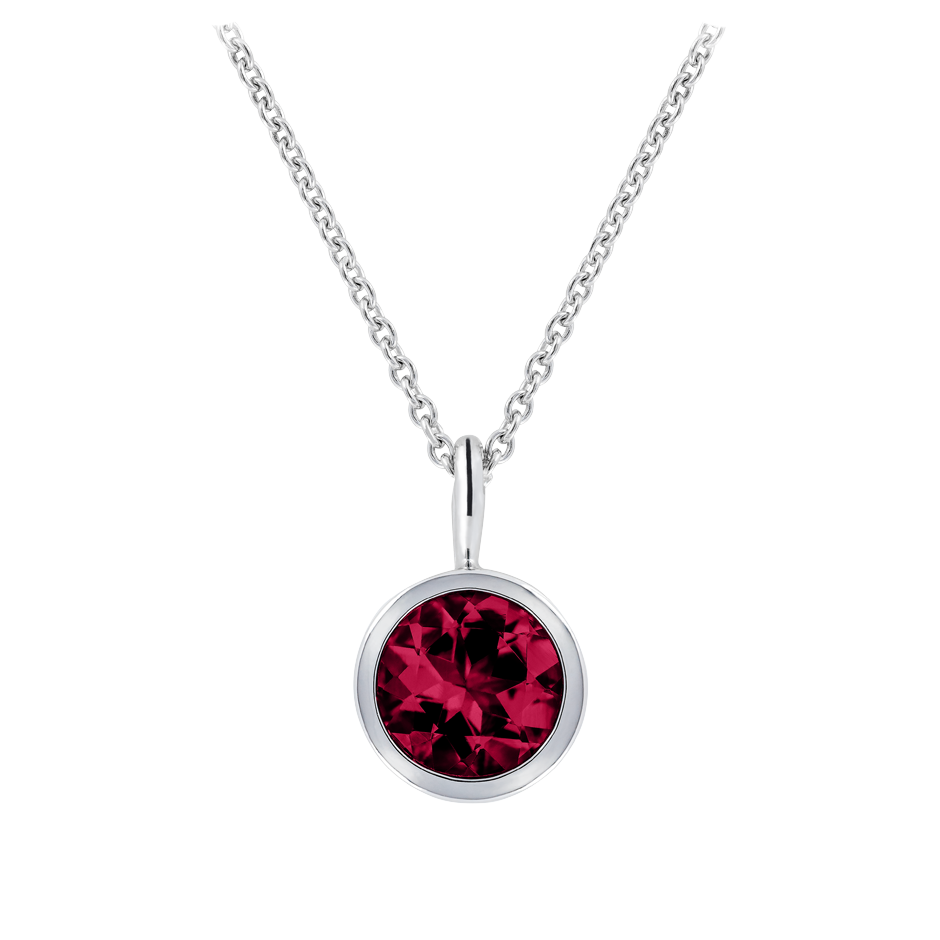 Pendant Bezel Ruby red in Platinum