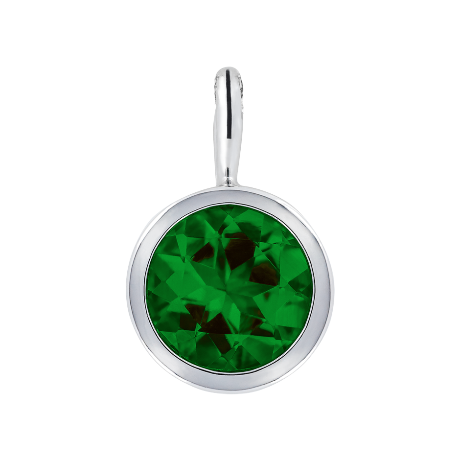 Pendant Bezel Tourmaline green in Platinum
