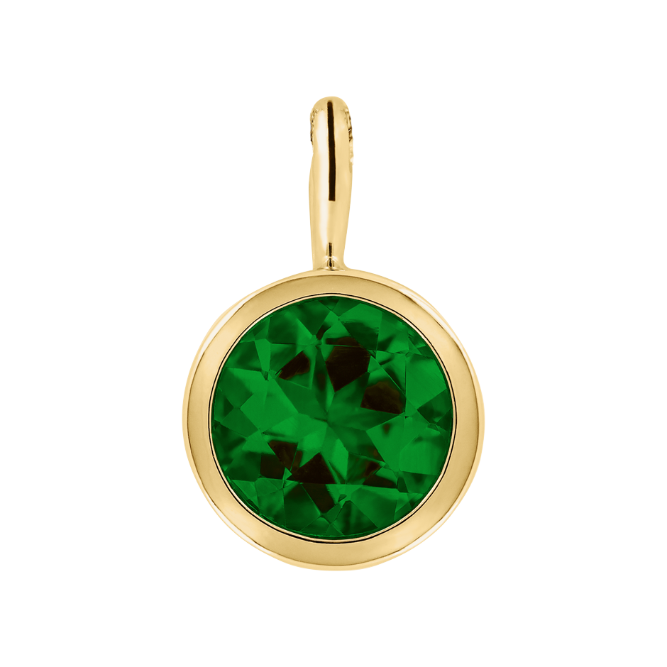 Pendant Bezel Tourmaline green in Yellow Gold