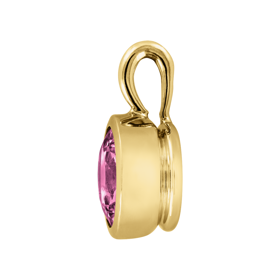 Pendant Bezel Tourmaline pink in Yellow Gold