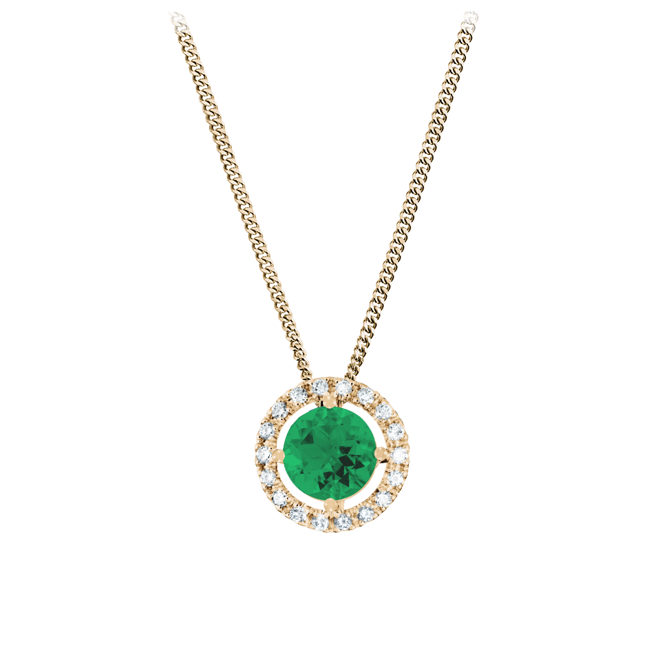 Pendant Halo Emerald green in Rose Gold