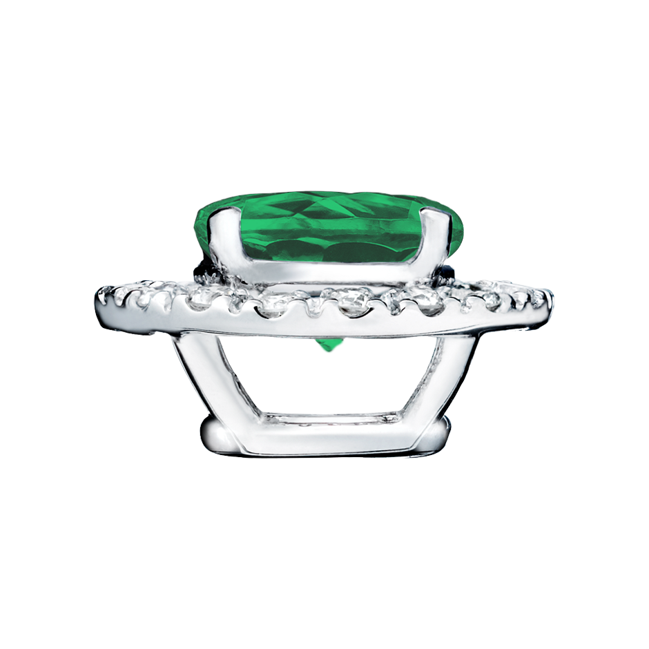 Pendant Halo Emerald green in White Gold