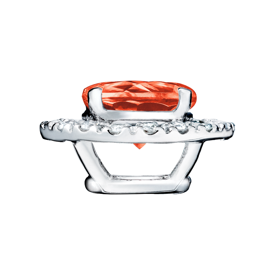 Pendant Halo Fire Opal orange in White Gold