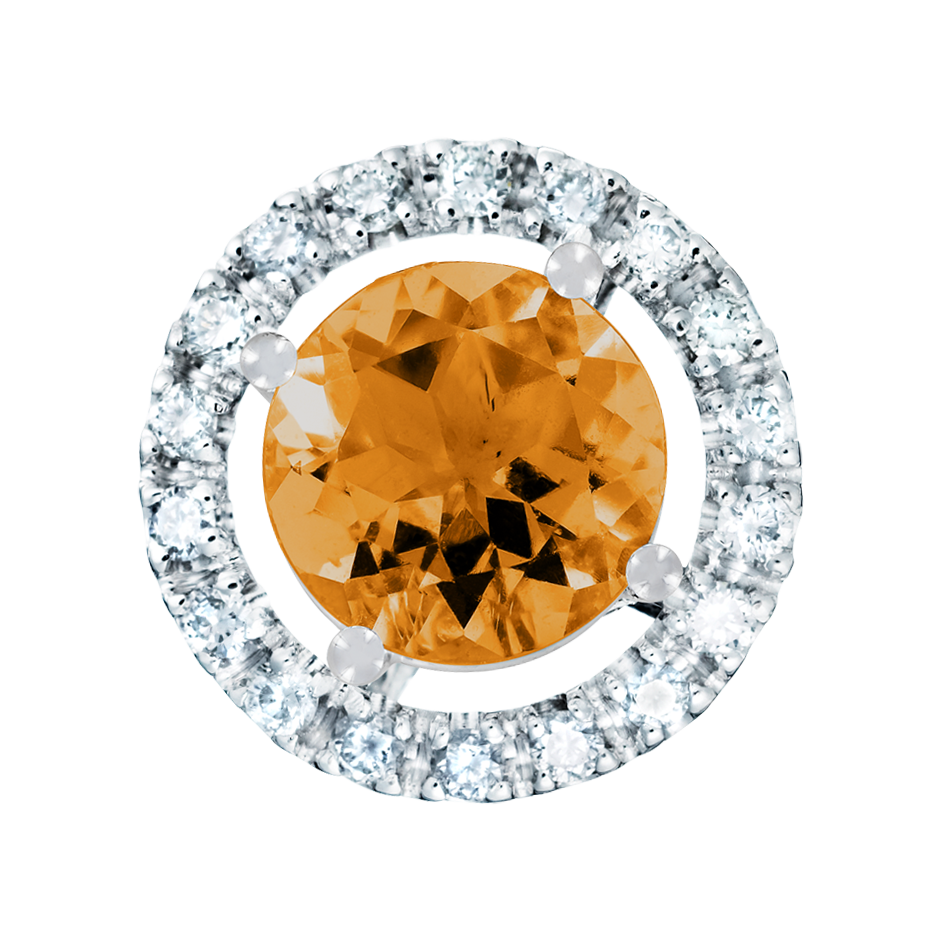 Pendant Halo Madeira Citrine orange in Platinum