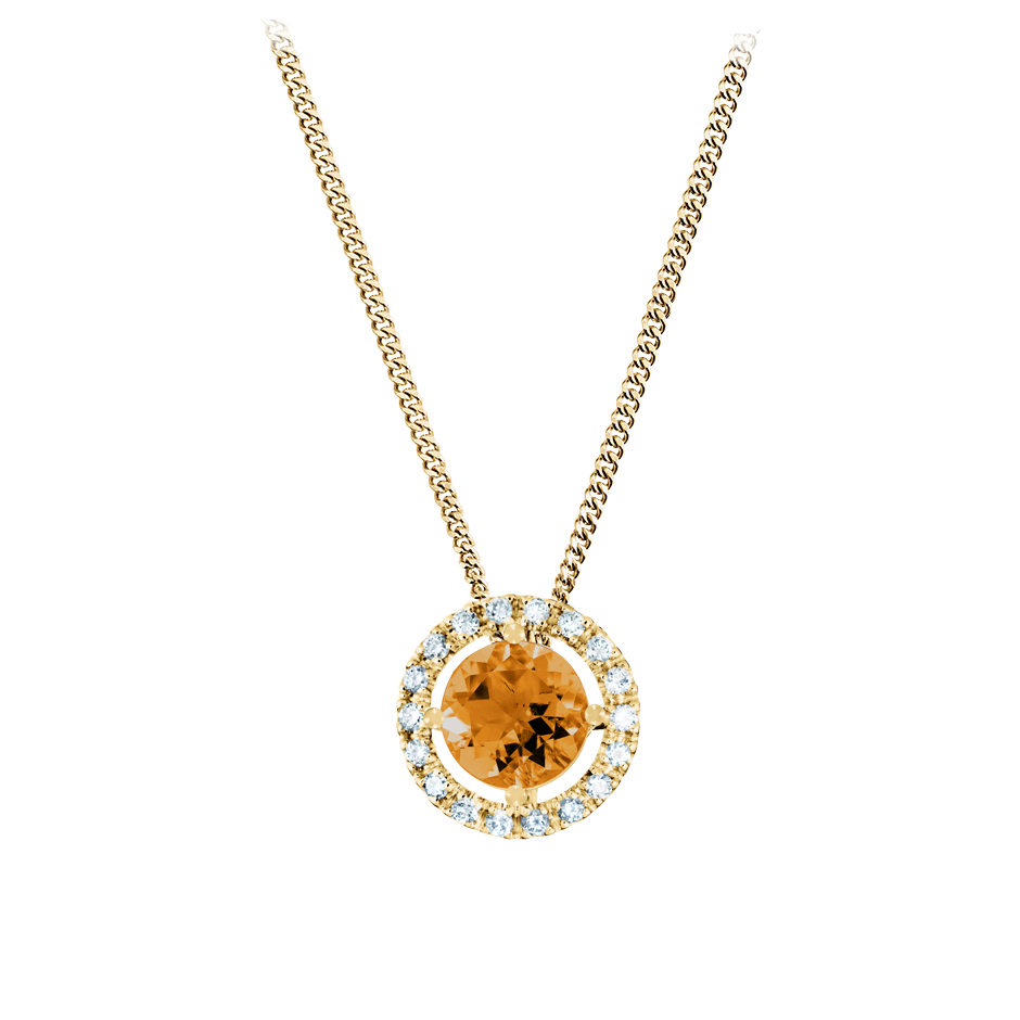 Pendant Halo Madeira Citrine orange in Yellow Gold