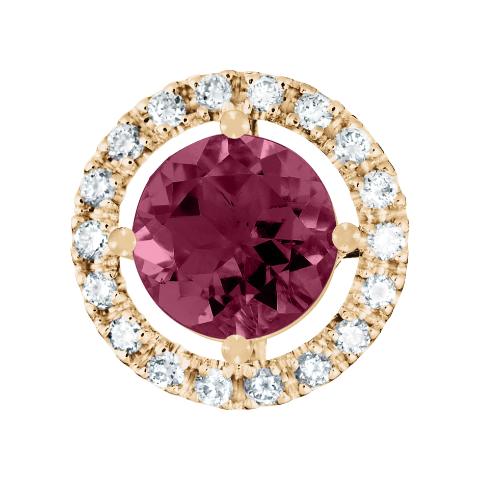 Pendant Halo Rhodolite red in Rose Gold
