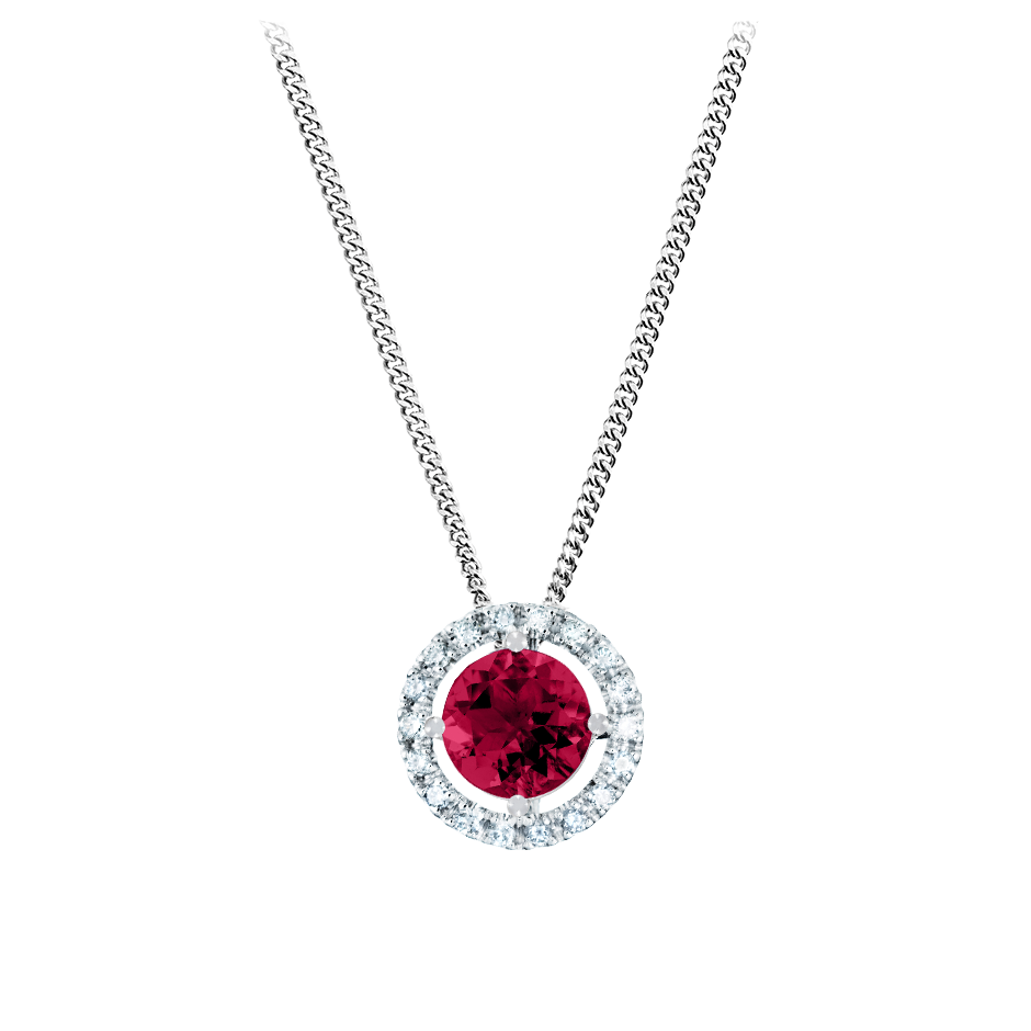 Pendant Halo Ruby red in White Gold