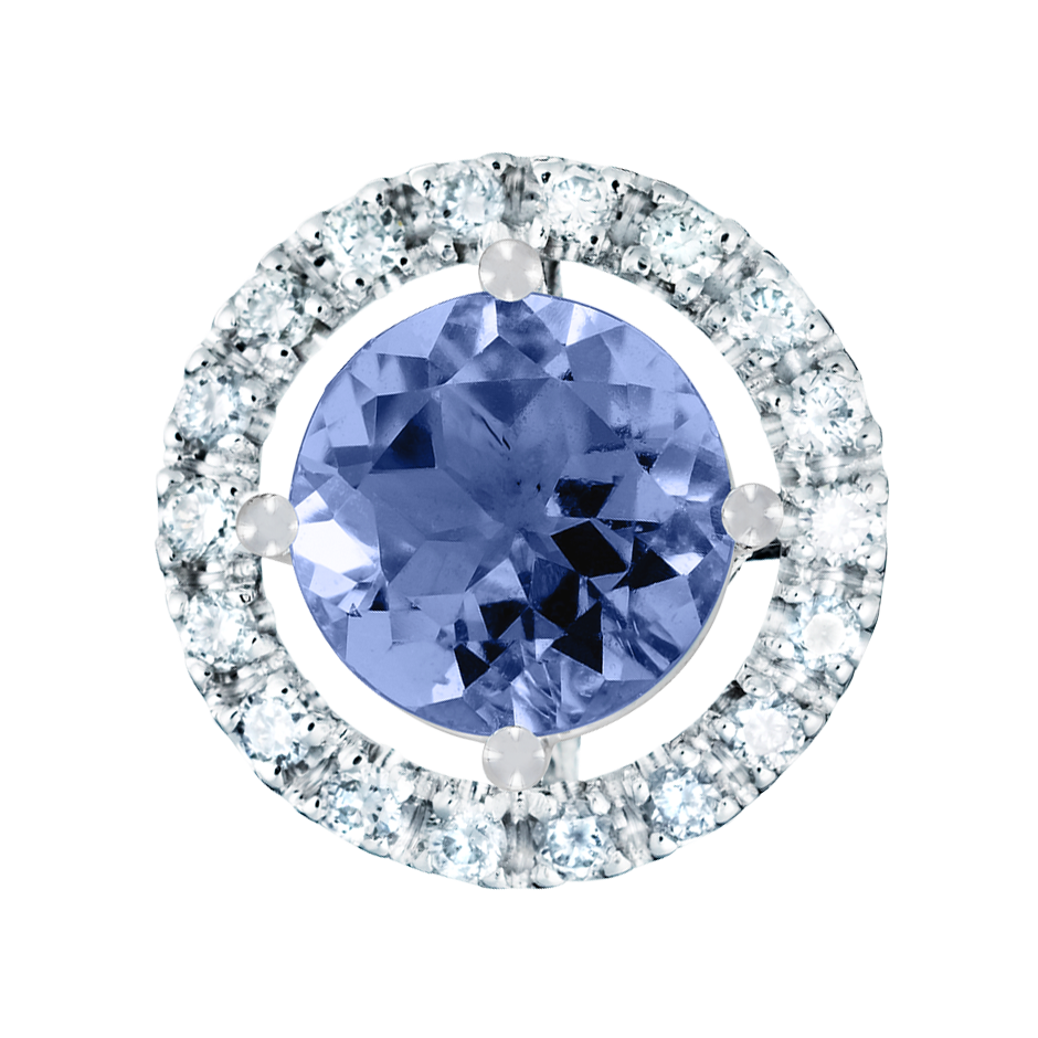 Pendant Halo Tanzanite blue in White Gold