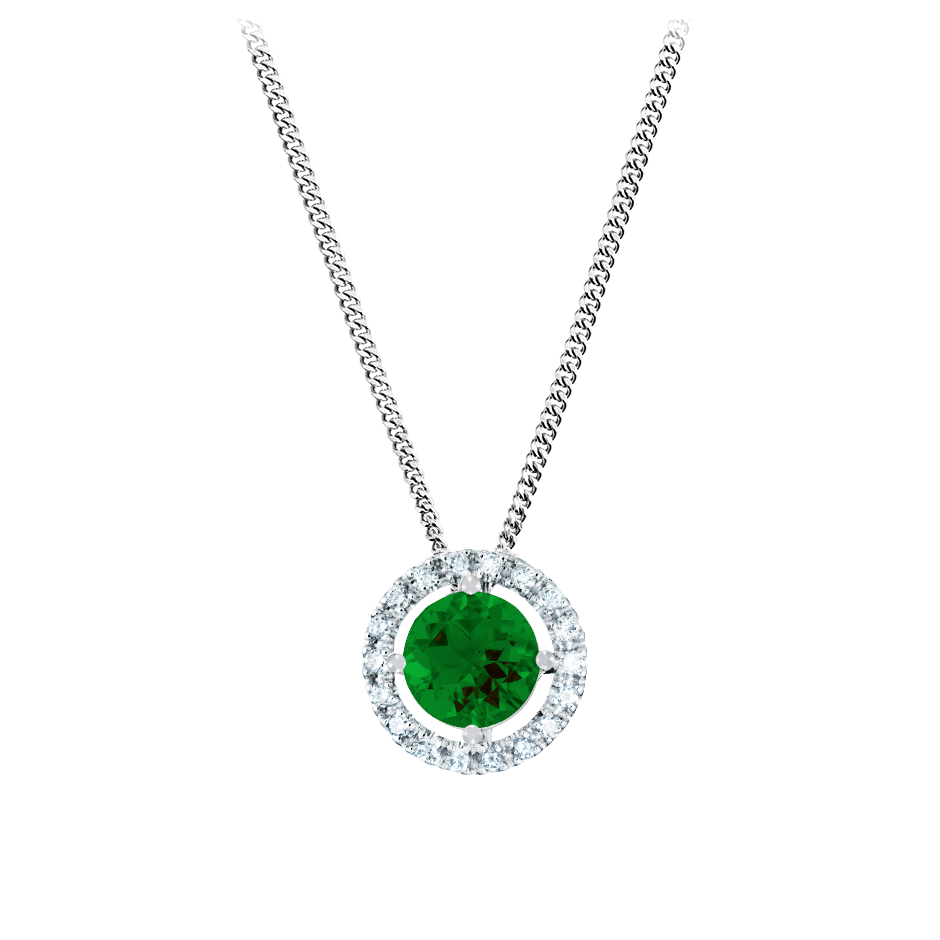 Pendant Halo Tourmaline green in Platinum