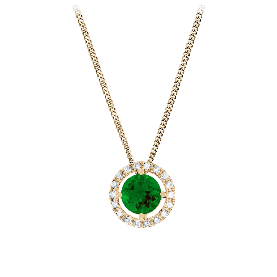 Pendant Halo Tourmaline green in Rose Gold