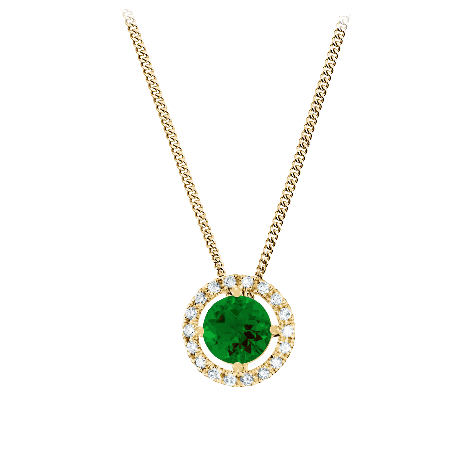 Pendant Halo Tourmaline green in Yellow Gold