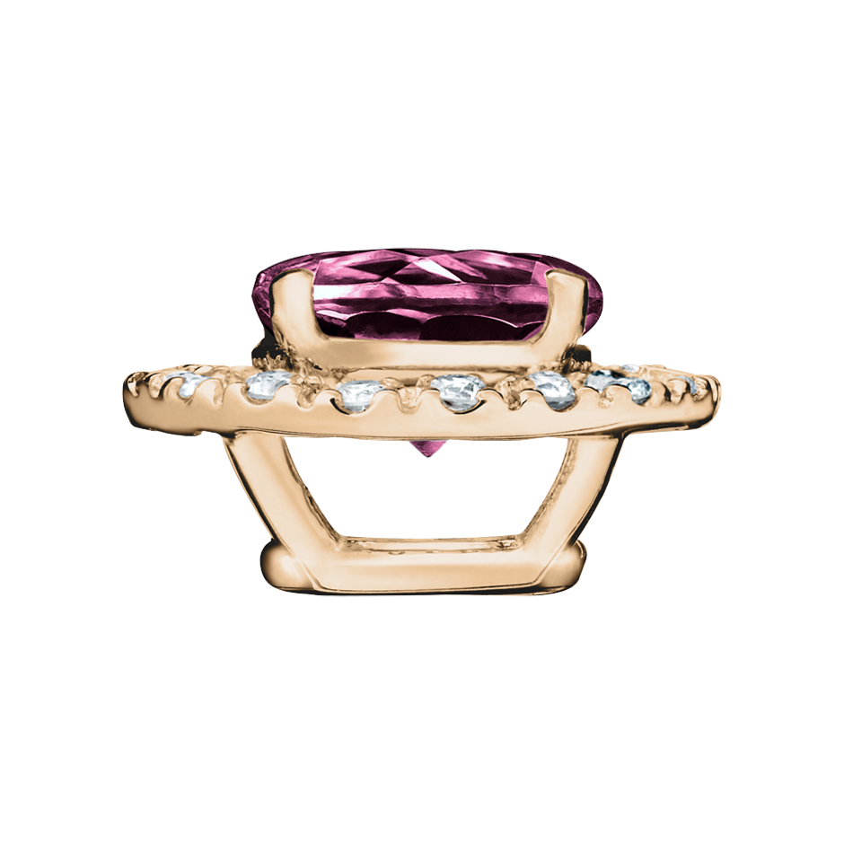 Pendant Halo Tourmaline pink in Rose Gold
