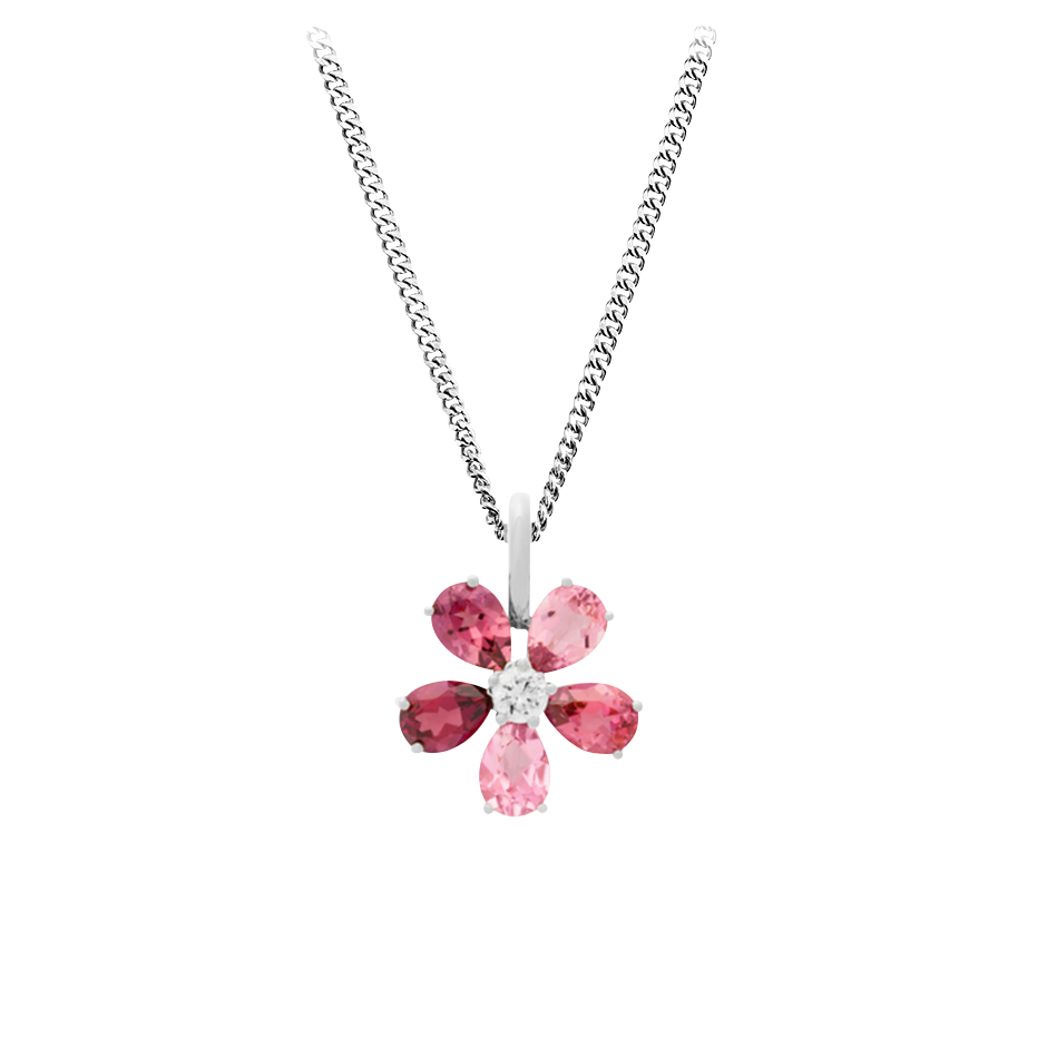 Pendentif Flowers Tourmaline in Or gris